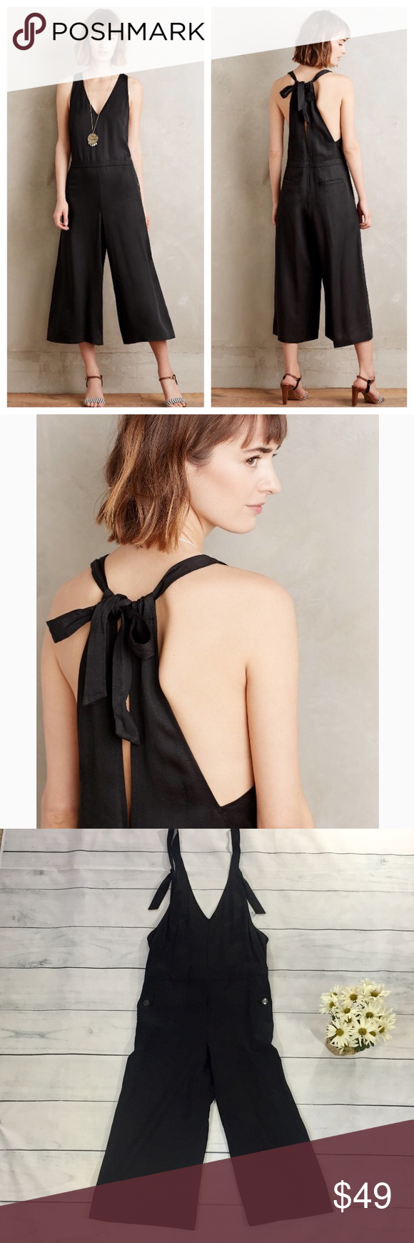 """012863ccffa8 Anthropologie """"Erinna Culotte Jumpsuit"""" Super comfortable and cute jumpsuit  from Anthropologie. This black"""