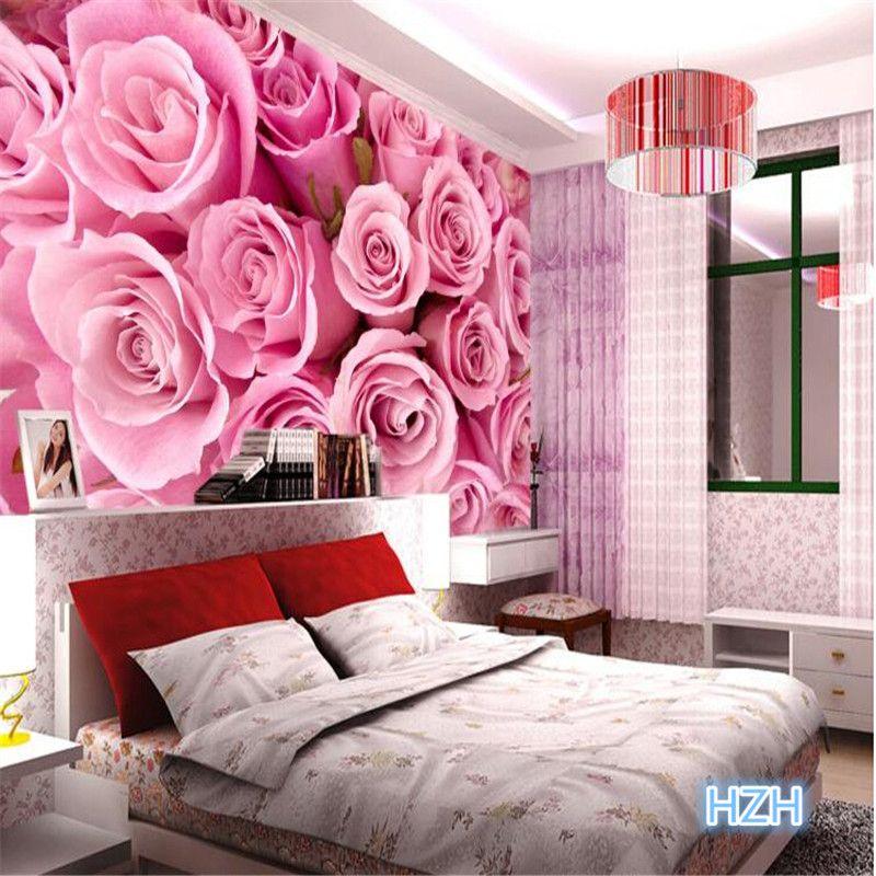 Barato tv fundo de papel de parede de rosas rom ntico sala for Papel pared barato