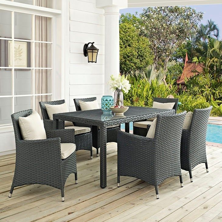 sojourn 7 piece outdoor patio sunbrellaa dining set in antique