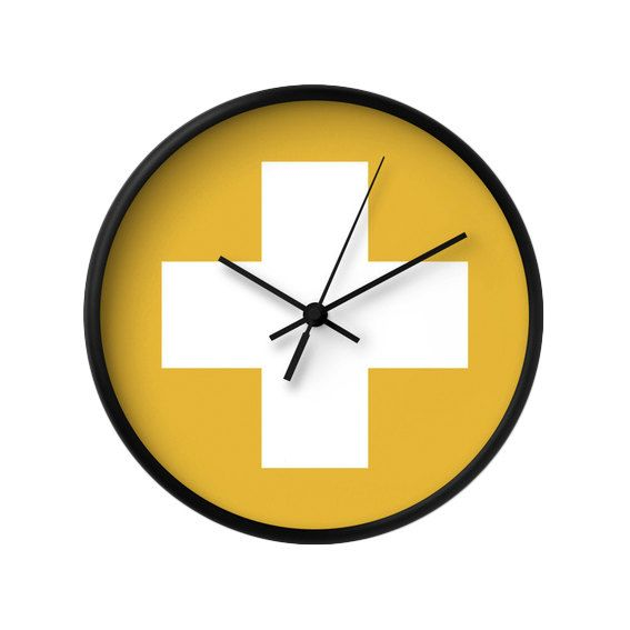 Swiss cross wall clock White and yellow wall clock by LatteHome ...