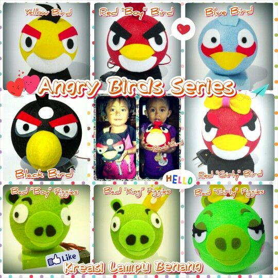 All character Angry Bird and Bad Piggies, kreasi lampu tidur
