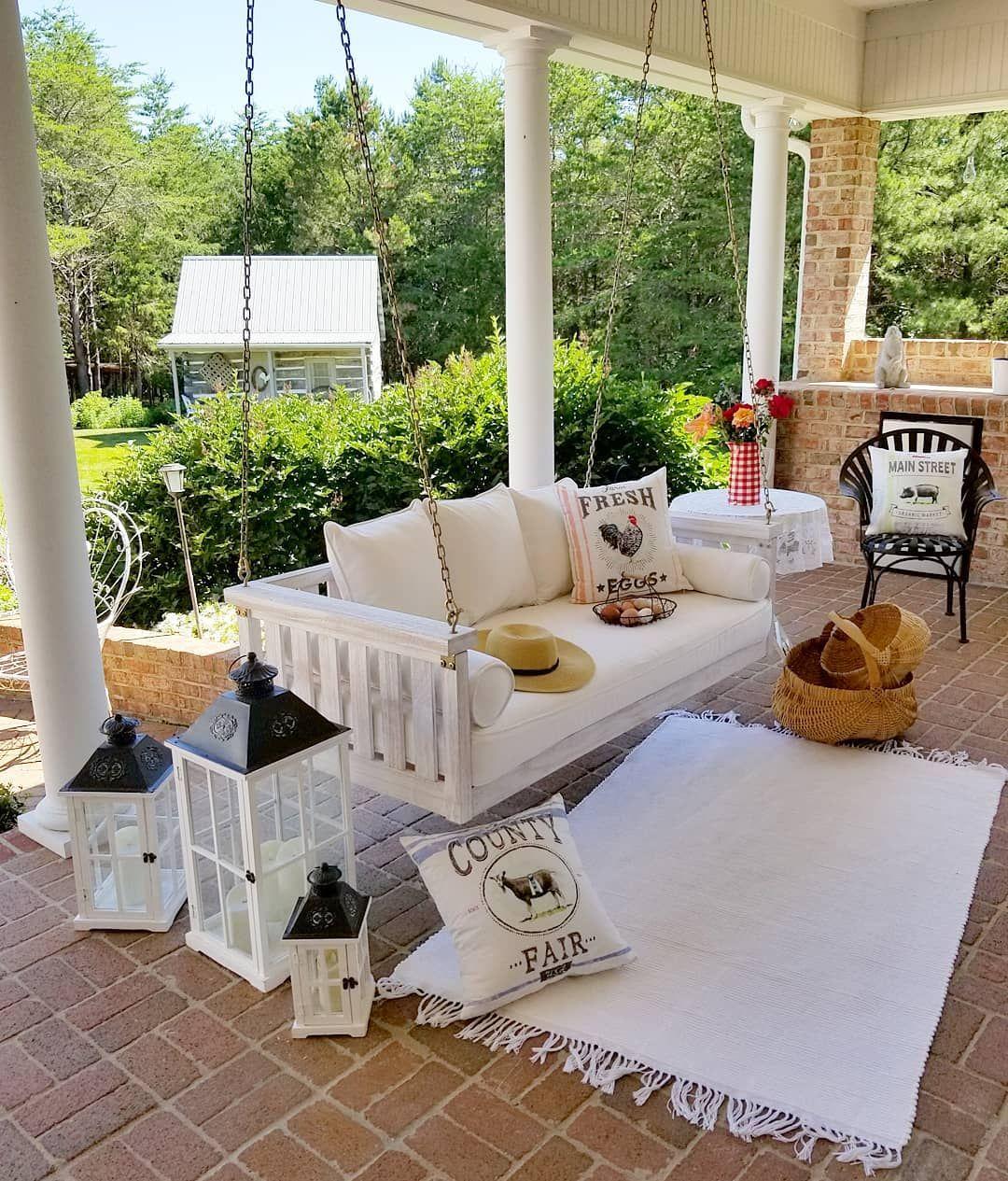 Back porch farmhouse decor pillows backporch homedecor
