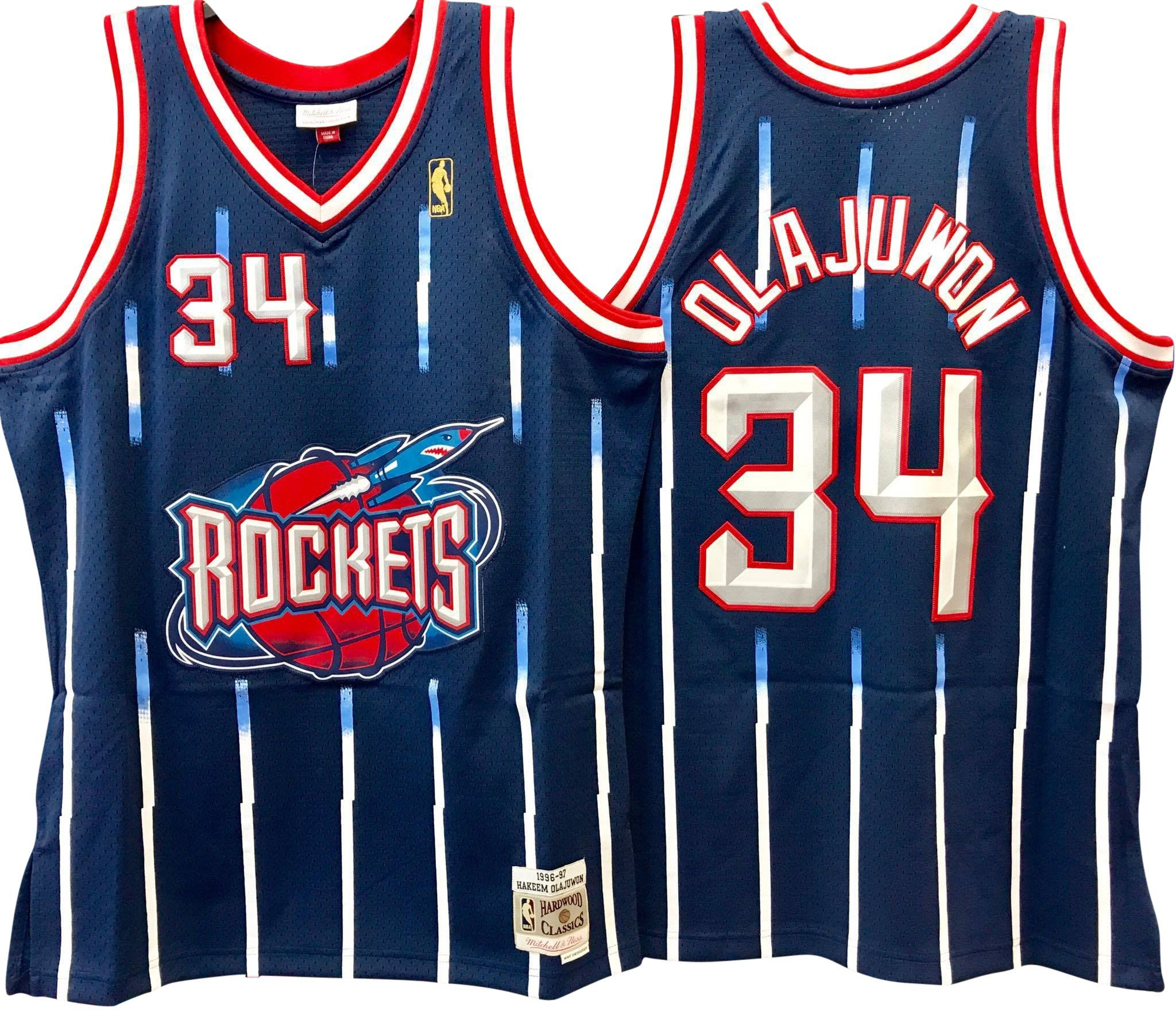 621e77e6f HAKEEM OLAJUWON HOUSTON ROCKETS NBA HARDWOOD CLASSICS THROWBACK NAVY SWINGMAN  JERSEY