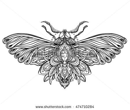 Black And White Decorative Vector Illustration Of Moth Isolated On Over Sacred Geometry Lines Tattoo Design Coloring Book For Adults Nature