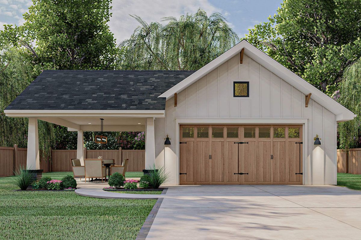 Plan 62589DJ Craftsman Garage with Covered Carport in