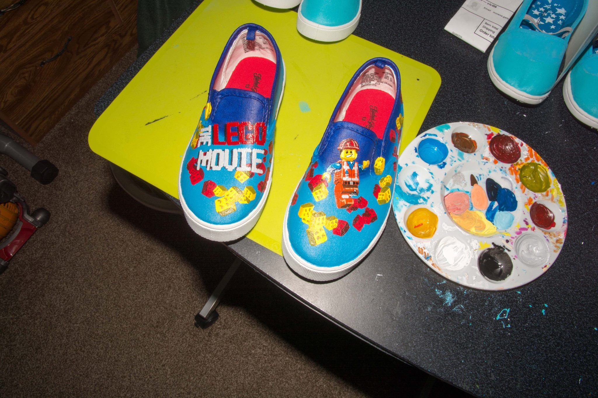 The Lego Movie Painted Shoes Painted Shoes Custom Shoes Shoe Art