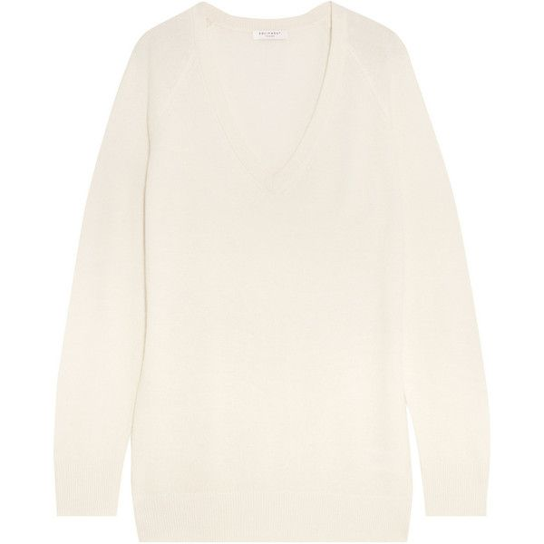 Equipment Asher oversized cashmere sweater ($510) via Polyvore featuring tops, sweaters, white, wool cashmere sweater, white drape top, oversized tops, oversized white top and relaxed fit tops