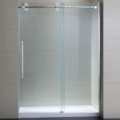 Schon Lindsay 60 In X 79 In Frameless Shower Enclosure With Sliding Glass Shower Door In Chro Glass Shower Doors Shower Sliding Glass Door Chrome Shower Door