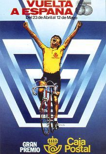 1985 Vuelta a Espana Poster. This poster design, again with minimal sponsorship mentioned, concentrates on the winner of a stage as he crosses the finish line However with an alternative, futuristic background. #Vuelta #Cycling