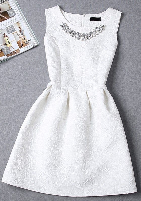 5cea5a49fbb38 White Plain Pleated Rhinestone Round Neck Sleeveless Mini Dress