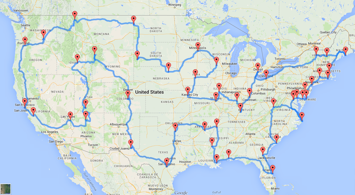 Data Geniuses Have Figured Out What The Ultimate US Road Trip - Us internet map