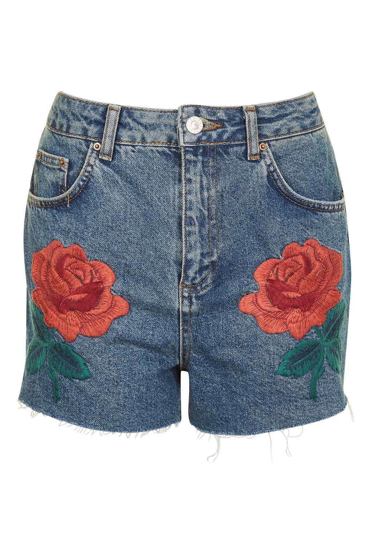 34811a4b37 MOTO Rose Embroidered Shorts | Clothes | Denim shorts, Topshop ...