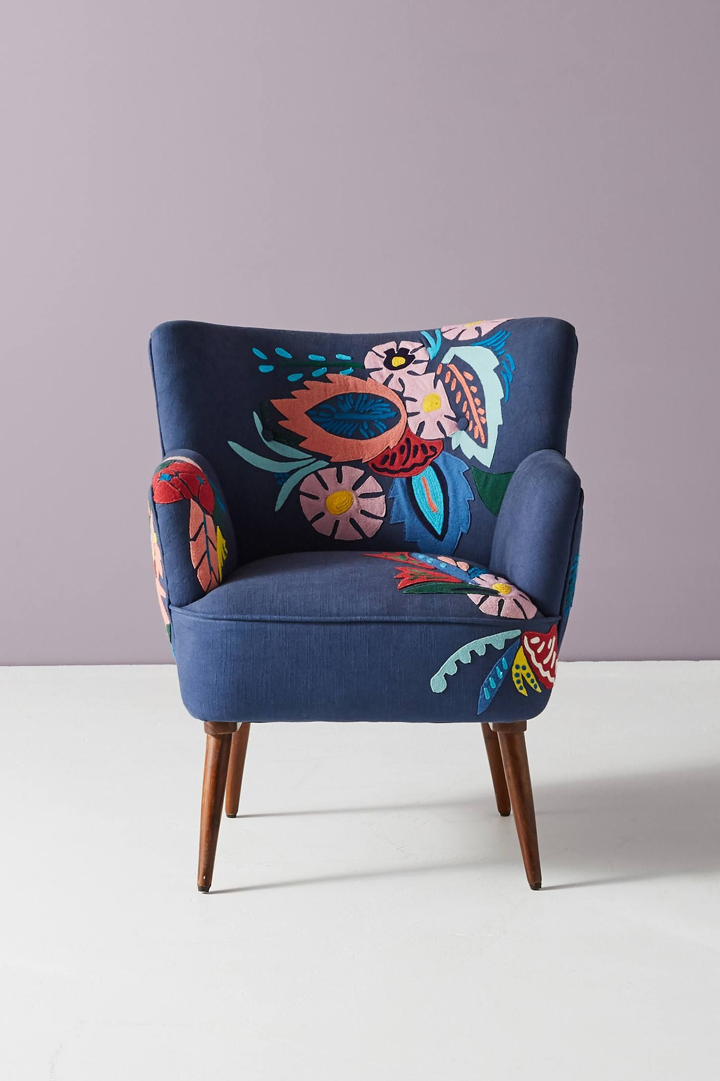 Felted Floral Petite Accent Chair | Floral accent chair ...
