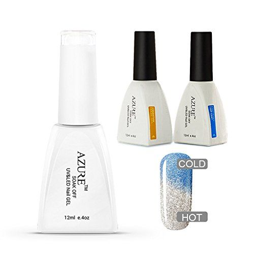 Azure 3 Pcs Soak Off UV LED Temperature Color Changing Gel Nail Polish DIY   Base Coat   Top Coat Set T46 -- Find out more about the great product at the image link.