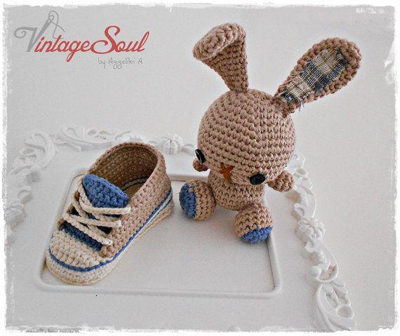 Zapatillas de bebe de ganchillo - juguete de conejo - 100% de ...