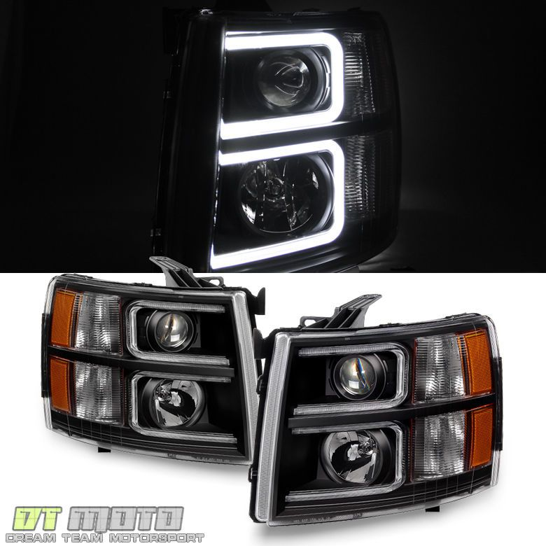Black 2007 2017 Chevy Silverado Optic Led Projector Headlights Left Right 07 13