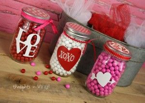 Valentines Day Mason Jar Decals Wood Valentines Valentines