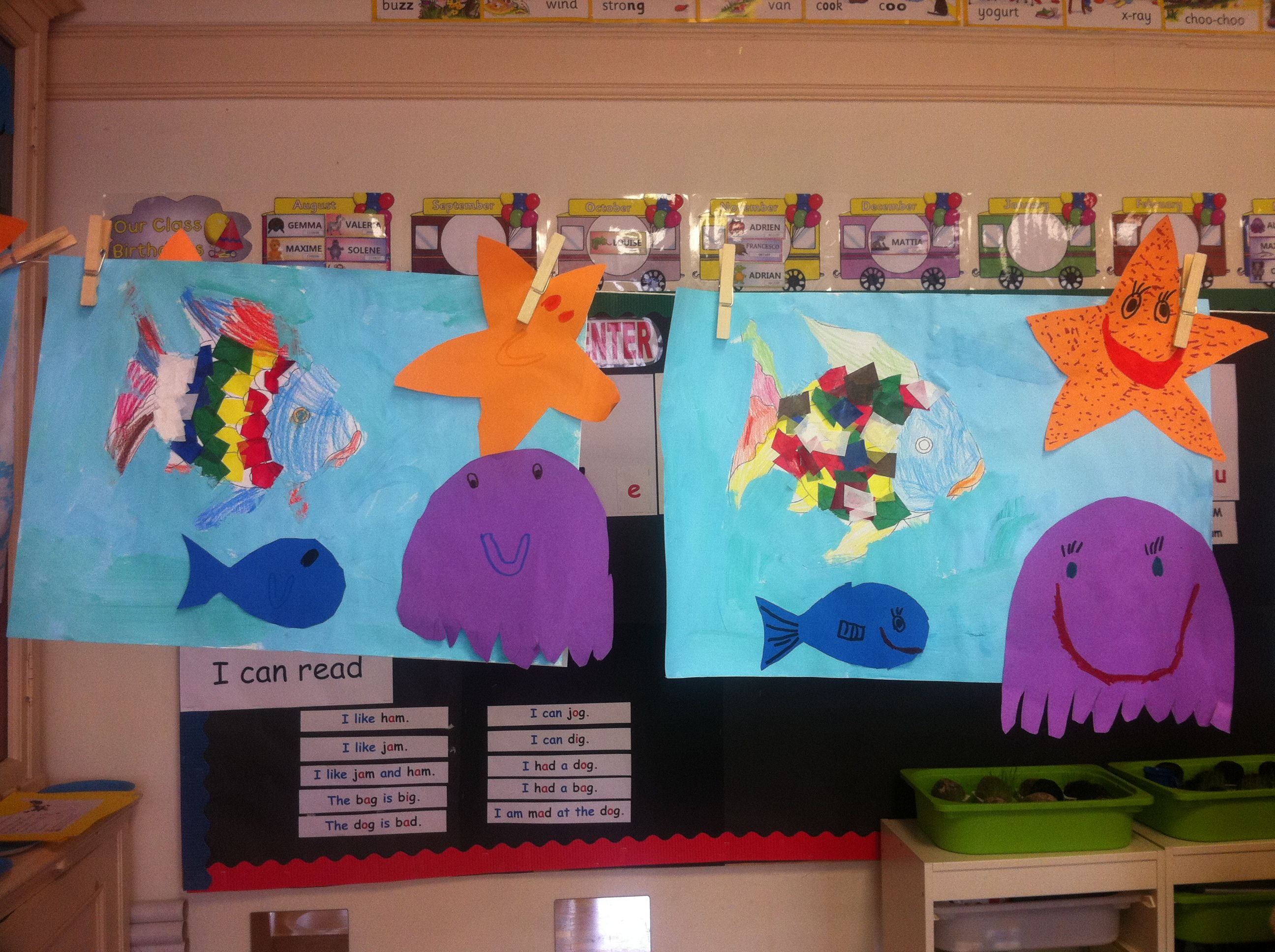 The Rainbow Fish Main Characters Painting And Sticking Activity Little Blue Fish Star Fish