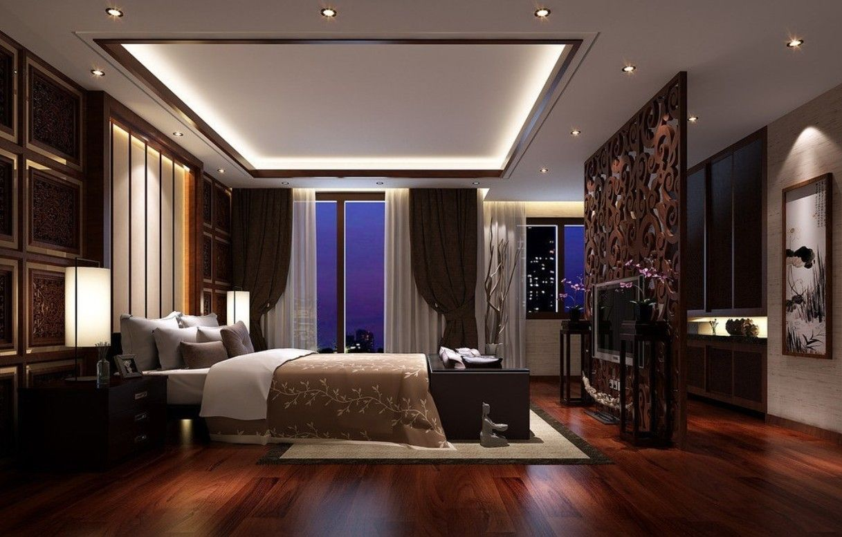 dark hardwood flooring ideas for bedroom with pop ceiling designs