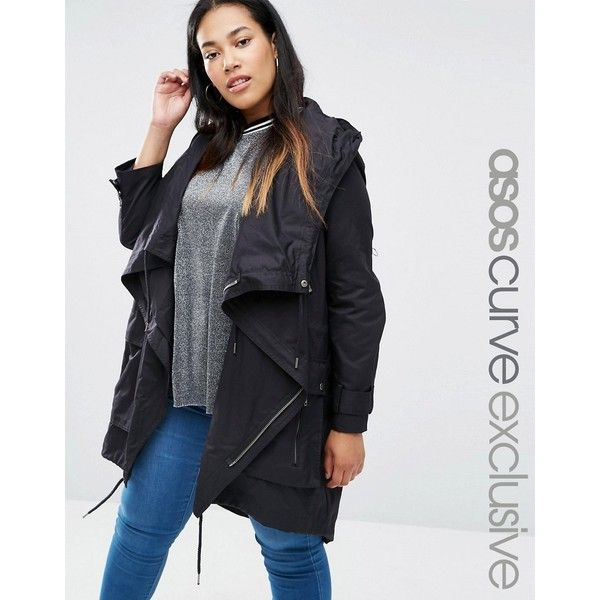 da4cf6d282959 ASOS CURVE Parka with Waterfall and Storm Flap ( 94) ❤ liked on Polyvore  featuring outerwear