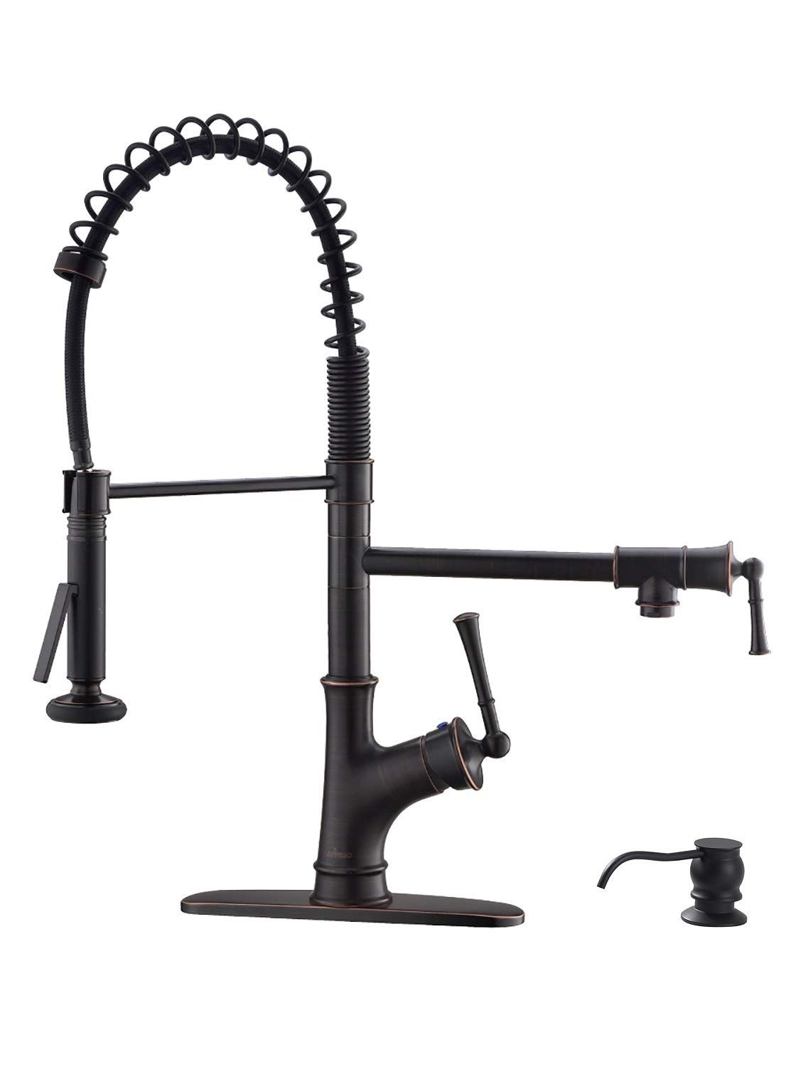 Appaso Commercial Spring Pull Down Kitchen Faucet With Sprayer And