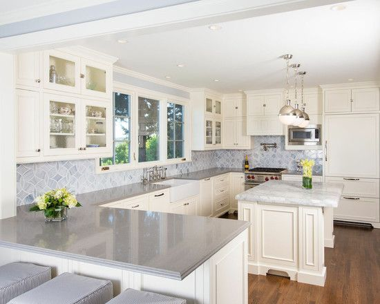 using the caesarstone pebble countertop: charming traditional