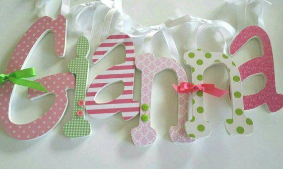 Holzbuchstaben mädchen kinderzimmer gianna & theme pink