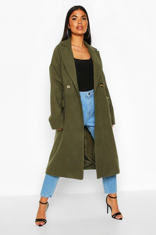 Petite Pocket Detail Wool Look Coat Boohoo Petite Coat Green Coat Outfit Coat [ 1500 x 1000 Pixel ]