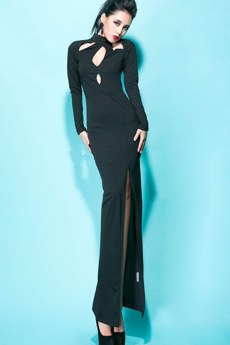 Black Cut Out Slit Side Long Sleeve Maxi Dress | Long sleeve maxi ...
