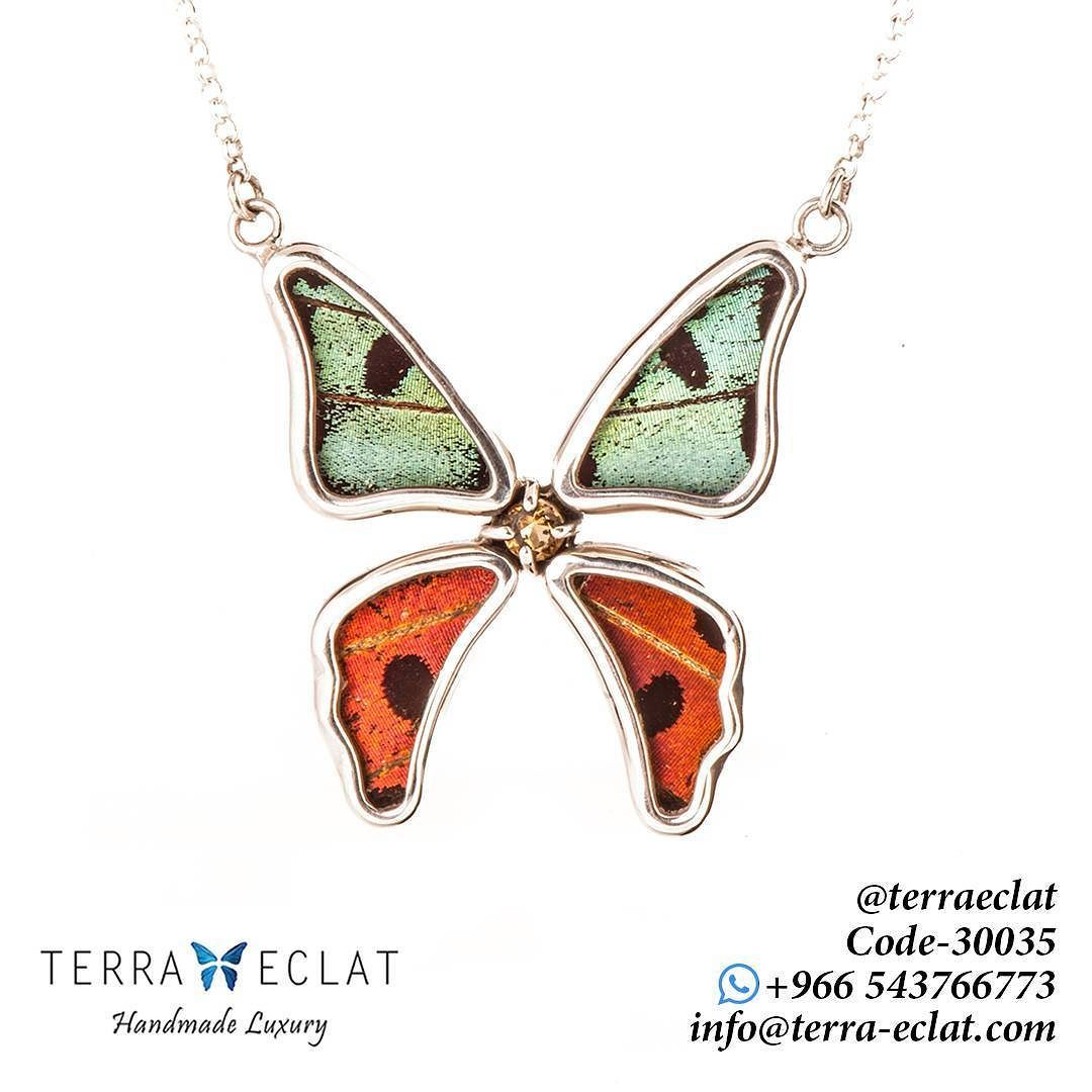 Untitled Real Butterfly Wings Unique Gemstones Jewelry Art