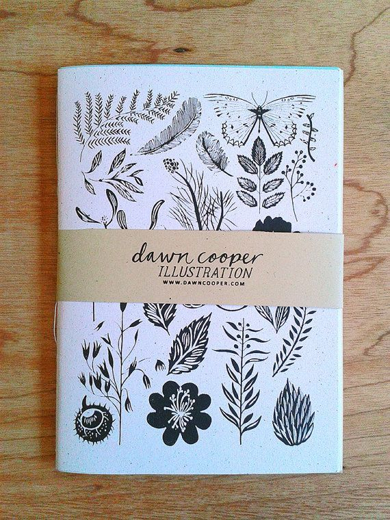 journal, botanical illustrations, lettering, packaging, illustration, butterfly, notebook, to make, leaves, flowers, drawing, ink