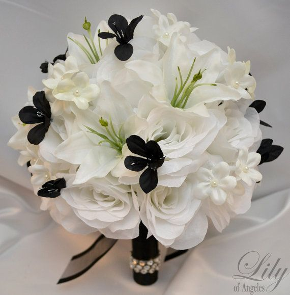 17 Piece Package Wedding Bridal Bouquet Set Decoration Lilies Bouquets Maid Bride Silk Flower BLACK WHITE WINTER Lily Of Angeles WTBK04