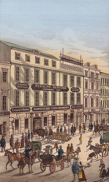 Berlin, Mitte: Brüderstraße in the 19th century with a part of the Rudolph Hertzog department store