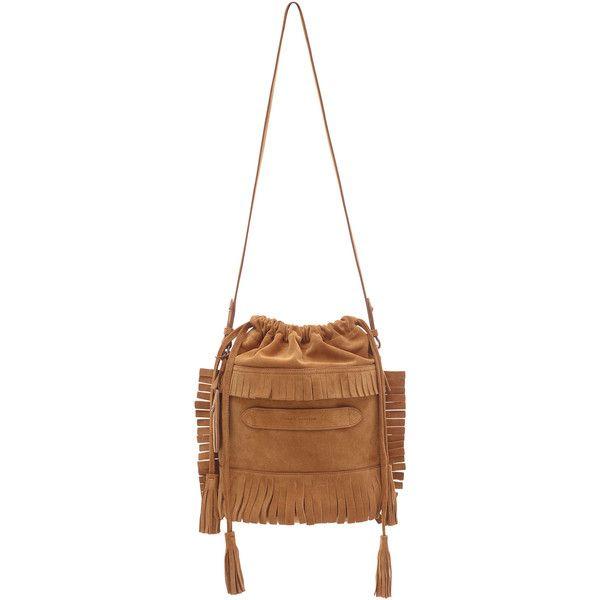 Marie Martens Brown Suede Ibiza Bag (€350) ❤ liked on Polyvore featuring bags, handbags, shoulder bags, white shoulder bag, suede bucket bag, fringe purse, evening handbags and drawstring bucket bag