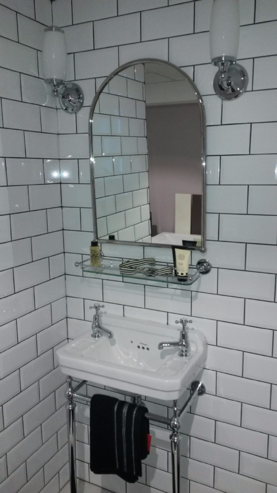 Browse Here For A Great Deal On Traditional Burlington Bathrooms Arched Mirror With Glass Shelf