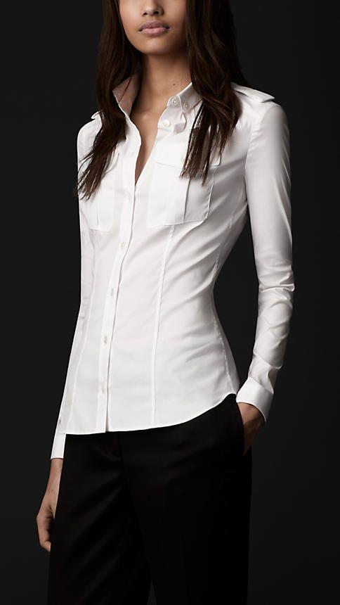 Women Poplin Button Top Long Sleeve Stretch Fit Ladies Office Shirt Work Blouse