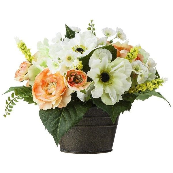 """Floral Table Arrangement Hydrangea/Ranunculus mix 12"""" (33 CAD) ❤ liked on Polyvore featuring flowers"""