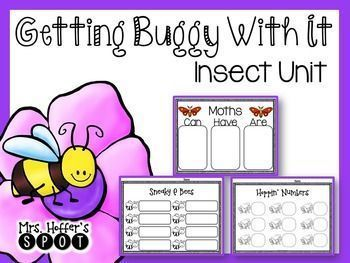 This unit has 2 Math and 2 ELA centers, it also included 13 Can Have Are charts and 8 Insect labeling activities. The Center Skills met are: ELA: Vowel Teams and CVCe wordsMath: Comparing Numbers and Missing NumbersThis unit is printer/ink friendly! There are two print options.1) Uses color ink, can print, laminate, cut and ready to go.2) Print on Colored Cardstock.