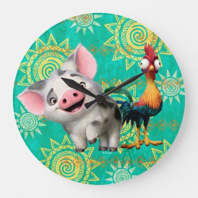 Moana First Mate & Top Rooster Large Clock