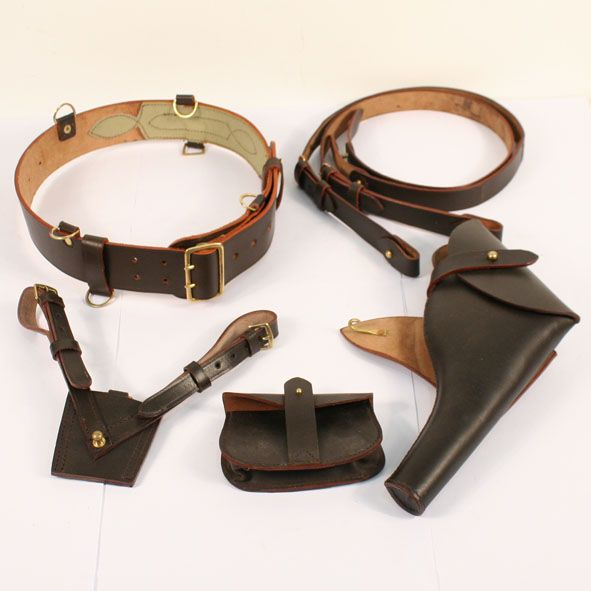 SET OF 2 WWII British Army Sam Browne Leather Ammo Pouch for Belt Dark Brown