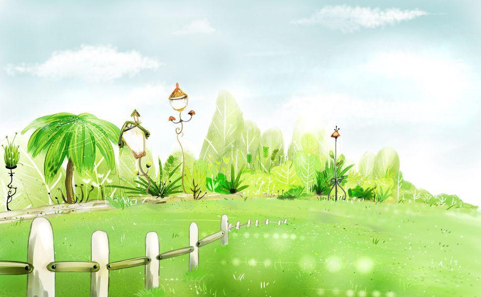 Green Garden Hd Wallpaper Spring Desktop Wallpaper Summer Desktop Backgrounds Spring Illustration