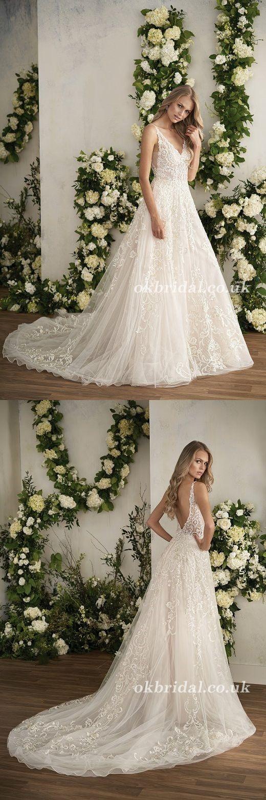 Charming vneck satin wedding dress aline white openback