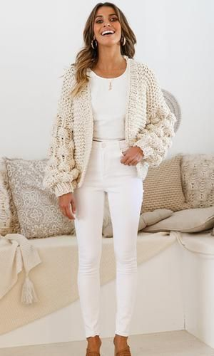 Desert Bound Cream Long Sleeve Bubble Chunky Crochet Oversize Cardigan Knit Pom Pom Sweater