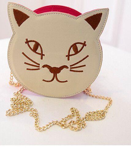 Cartoon Cute Personality Cat Round Shoulder Diagonal Cross Fashionista Bag