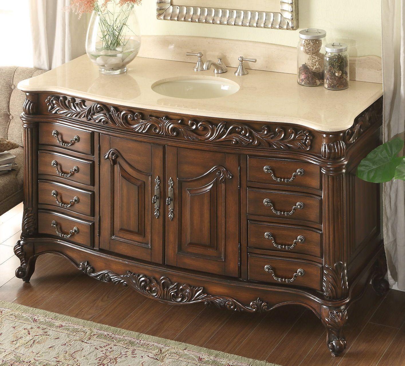 Adelina 60 Inch Antique Bathroom Vanity Beveled Edges Marble Top