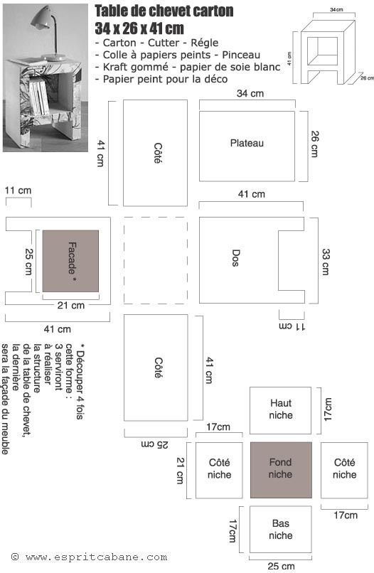 table de chevet en carton plan bureau plans et bureau. Black Bedroom Furniture Sets. Home Design Ideas