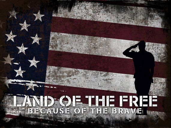 Land Of The Free Quote On American Flag With Soldiers Army Rangers
