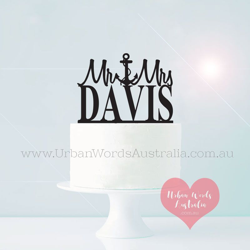 Top 10 Wedding Cake Suppliers In Melbourne: Cake Topper Mr And Mrs Surname