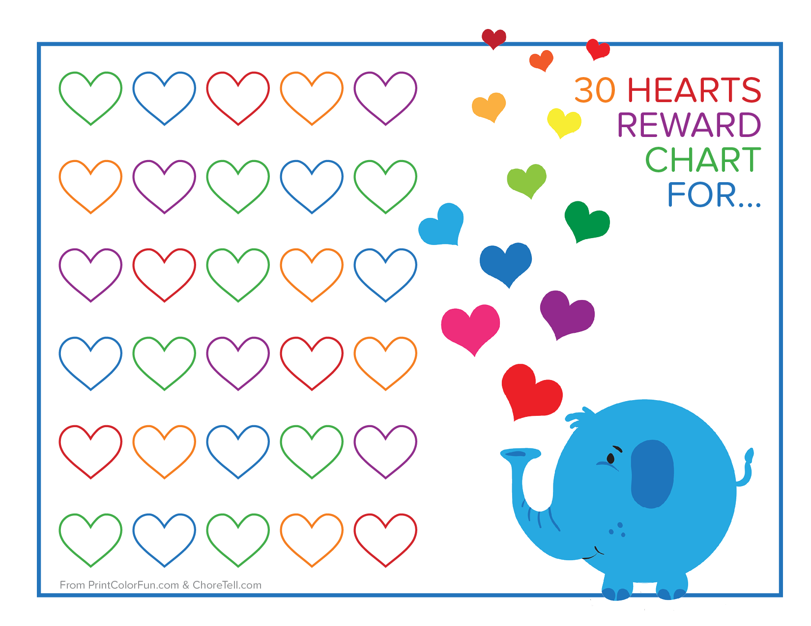 Cutest Elephant And Rainbow Hearts Reward Chart Free Printable S From Ctell