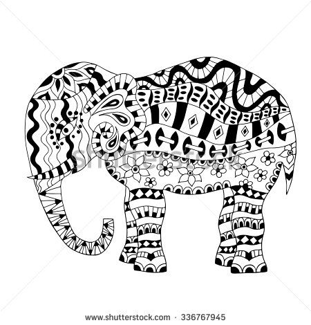 Hand drawn elephant coloring page. Coloring book page for adults ...